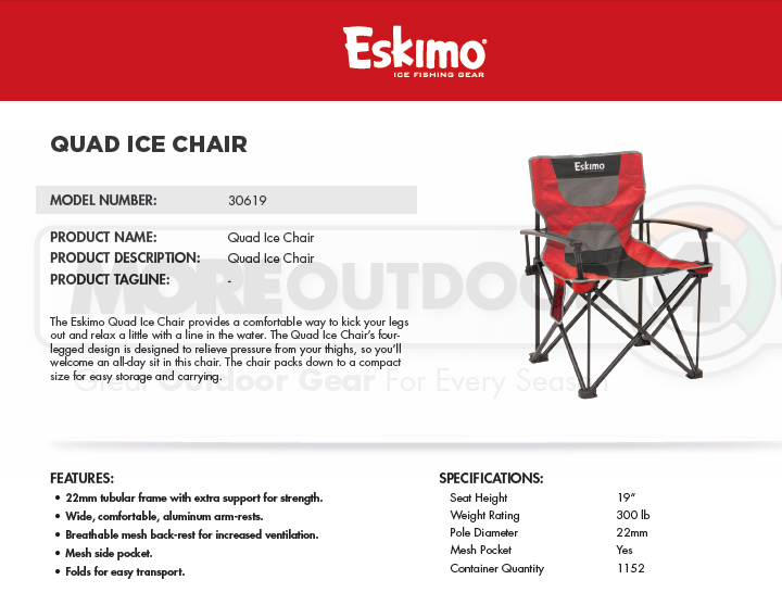 30619 nuovo Eskimo Quad Folding Ice pesca Shelter Ice Fisheruomini Chair