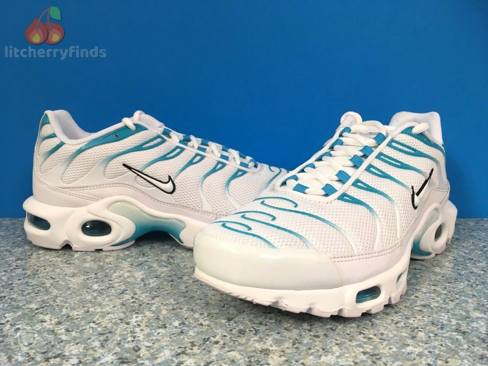 Nike Air Max Plus TN Mens Size 7 Ultra Rare Blue Fury White Trainer 852630 105