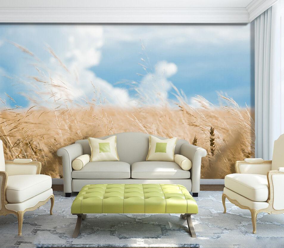 3D champ de Blé 69 Photo Papier Peint en Autocollant Murale Plafond Chambre Art