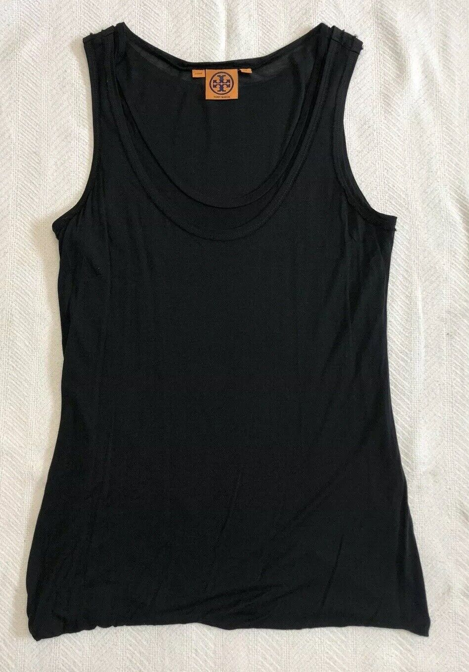Tory Burch Double Layer Tank Top With Raw Edges In Solid schwarz Sz S LKNW