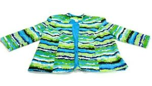 Lavender & Honey Jacket Blue Green Black White Lined Striped Pockets Womens 1X