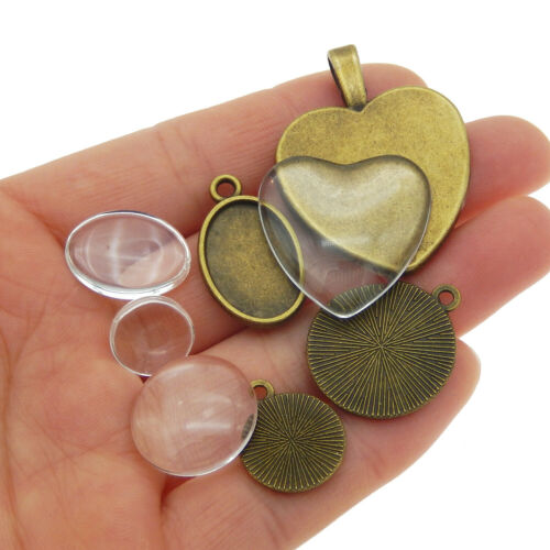 8 Set Bronze Alloy Oval Round Setting Blank Tray Glass Cameo Cab Pendants Charms
