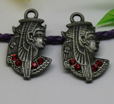 "10/30pcs Lovely red crystal ancient Egyptian King charm pendant "" King Tut """