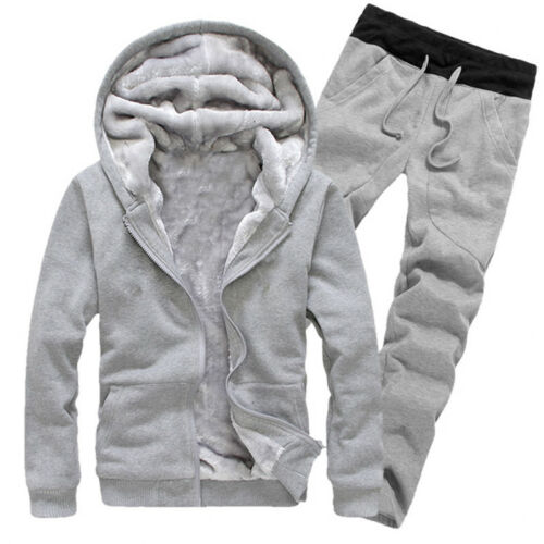 Men Tracksuit Set Fleece Hoodie Top /& Bottoms Jogging Joggers Gym Warm CONTRAST