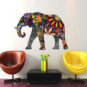 Wall decals full color elephant decal colorful vinyl sticker bedroom decor col7 ebay Colorful elephant home decor