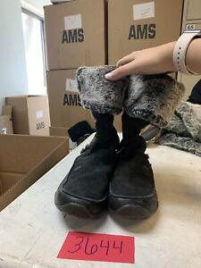 The-North-Face-Size-9-5-Suede-Leather-Lace-Up-Faux-Fur-Black-Boots-Primaloft-200