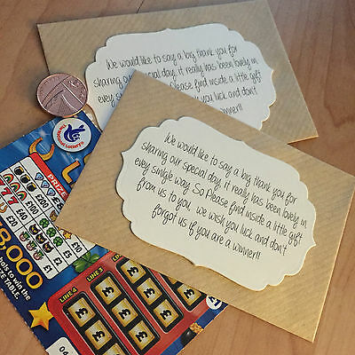 10 sobre de tarjeta de lotería//scratch//Cartera//Soporte Boda Favores Regalo Retro//Rústico