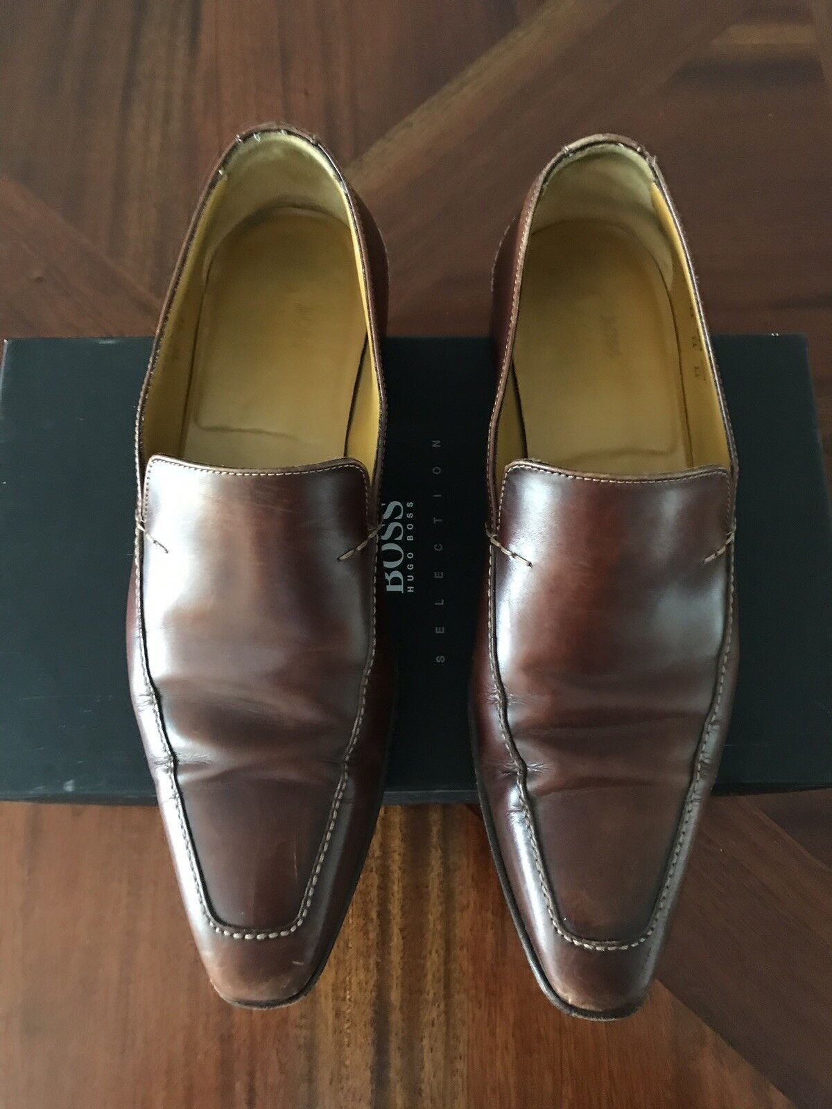 380 Hugo Boss Selection Brown Leather Loafers Slip-on shoes US 9 UK 8 EU 42