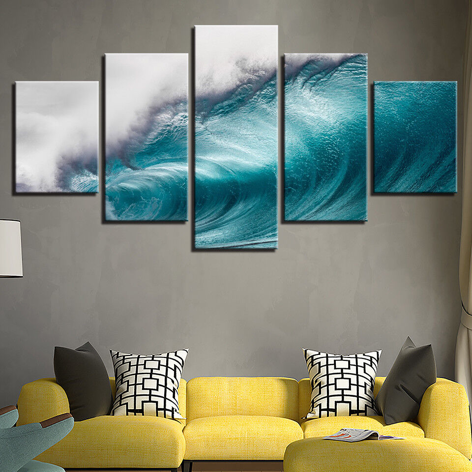 Rolling Waves Ocean Seascape 5 Panel Canvas Print Poster Wall Art Painting