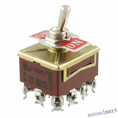 2pcs AC 15A/250V 10A/380V 12 Screw Terminals On/On 4PDT Toggle Switch