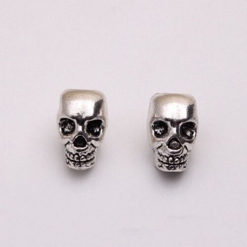 10 PCS Antique Silver Skull Head Spacer Beads Jewelry Bracelet Findings 4mm Hole