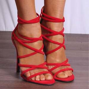 c483528cb42 Ladies Bright Red Faux Suede Strappy Sandals High Heels Peep Toes ...