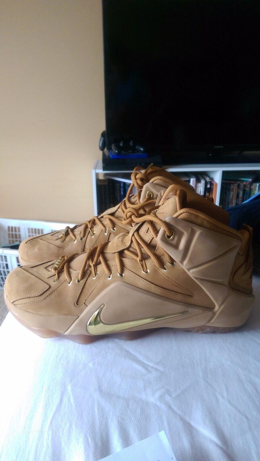 Nike LeBron 12 XII EXT QS Wheat Metallic Gold Cavs Nubuck New Men's Size: 13