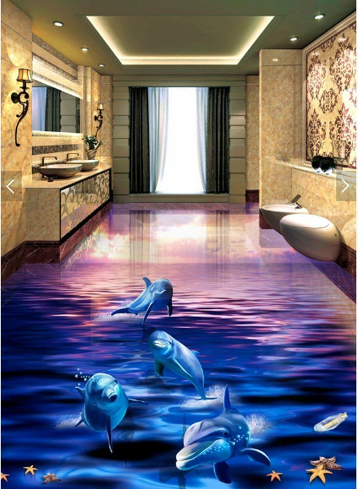 3D Dolphin Sunset Ocean Floor Mural Photo Flooring Wallpaper Wall Ceiling Decal