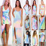 New Women Sleeveless Holiday Tie-dye Colorful Rainbow Beach Party Dress Sundress