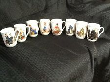 Norman Rockwell Museum Collection 1982/1985 Coffee Mugs Cups Gold Trim Set Of 8