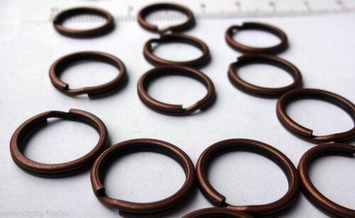 """50 Porte-clés 15 mm Approx 5//8/"""" Anneau Antique Finition Cuivre Steel Findings"""