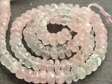 """HAND FACETED MORGANITE & AQUAMARINE RONDELLES, approx 6mm, 14"""", 110 beads"""