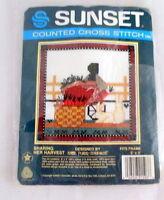 Vintage Cross Stitch Kit Sharing Her Harvest 1986 Sealed Wool 5 X 5 Sunset