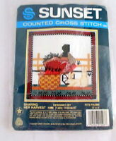 Vintage Cross Stitch Kit Sharing Her Harvest 1986 Sealed Wool 5 X 5 Sunset