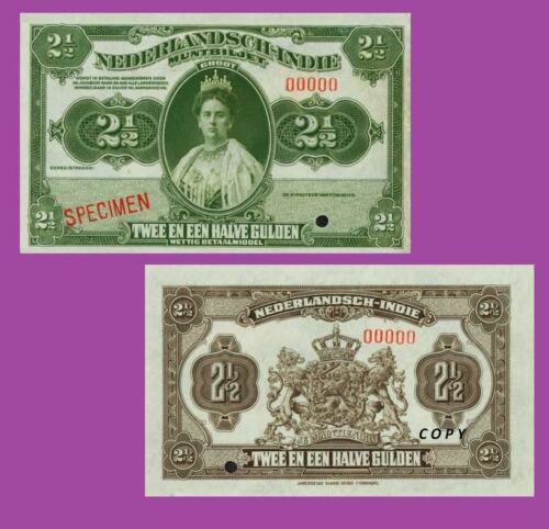 UNC Reproduction NETHERLANDS INDIES Muntbiljet 2 1//2 Gulden ND