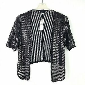 Details about Daytrip Womens Large Black Sequin Open Front 12 Sleeve Jacket Cardigan Kimono