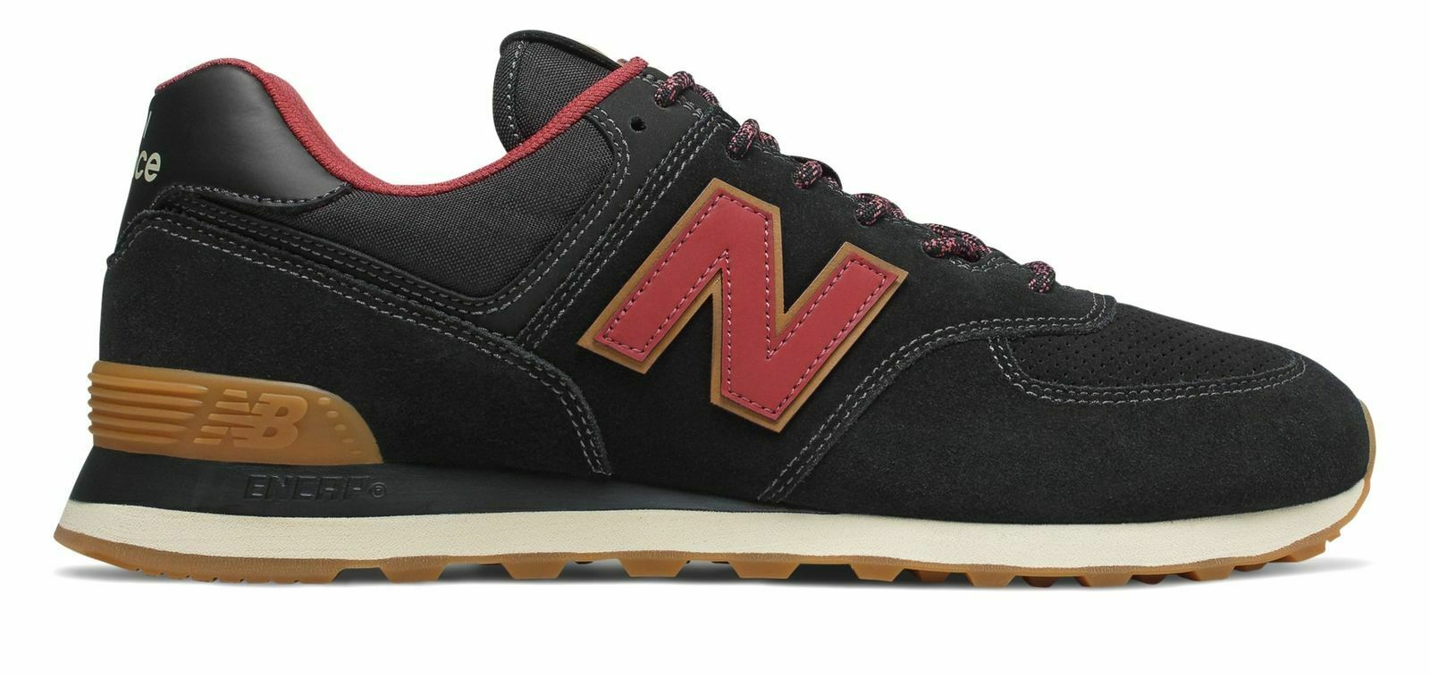 New Balance Men's 574 shoes Classics Traditionnels Black with Red ML574OTD