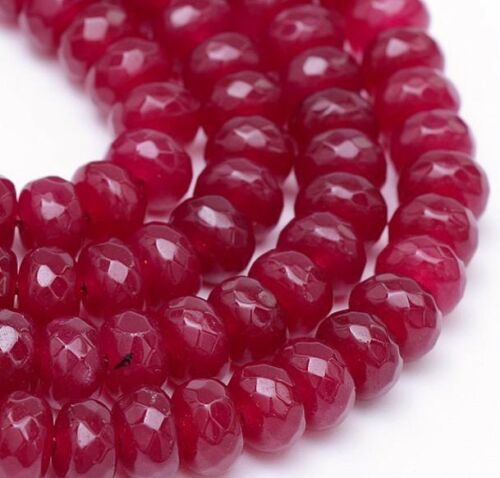 15 Agate Perles Gemmes Natural 8 mm Ruby Rouge Rondell à facettes Best g256