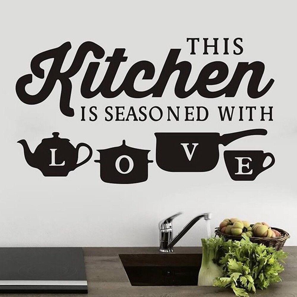 The Kitchen is. Wall Art Vinyl Decal Sticker 525mm x 360mm Matt Black Kitchen