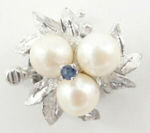 Vintage-14K-White-Gold-Dual-Strand-Pearl-Necklace-Box-Clasp-Pearls-Sapphire-7-8-034