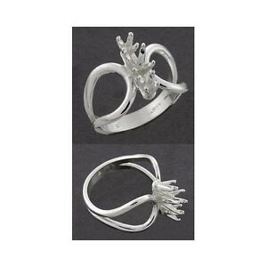 (1 - 5mm ) (2 - 3mm) Round Loop Sterling .925 Ring Setting (Ring Size 7 )