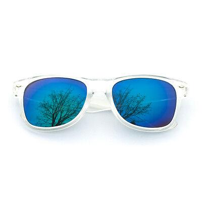 Wayfarer Sonnenbrille verspiegelt Nerd Brille Chrome Brille Blau Gold wählbar