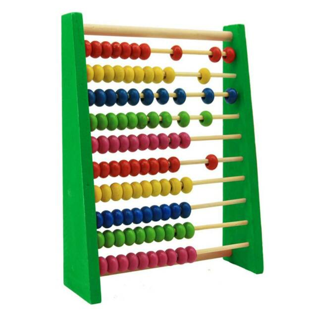 Wooden Bead Abacus Counting Frame Educational Learn Maths Childrens Wooden Toy