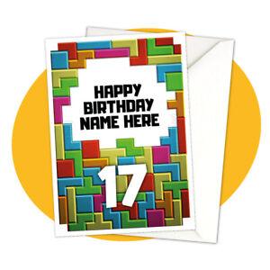 Block Birthday - PERSONALISED BIRTHDAY CARD - tetris retro gamer personalized