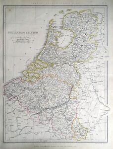 NETHERLANDS-HOLLAND-amp-BELGIUM-Sharpe-original-antique-map-1849