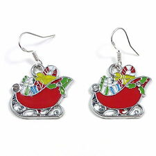 Christmas 2cm red Santa's sleigh dangly earrings sterling silver hooks enamel
