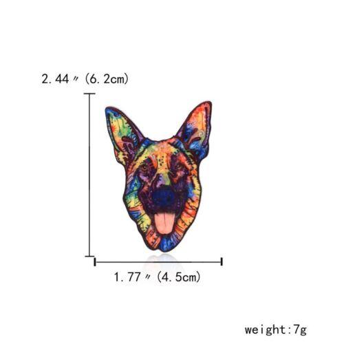 New Acrylic Printing Flower Animal Dog Cat Elephant Horse Brooch Pin Jewellery