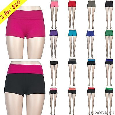 New Women Work Out Yoga Spanks Slim Fold Over Athletic Pant Booty Running Shorts