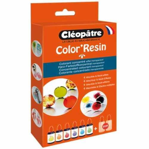 Cléopâtre Pigment colorant Color/'Resin 6 coul et 2 flacons vides