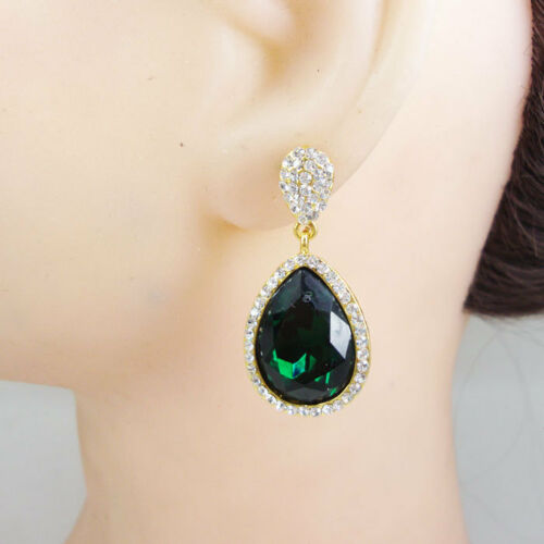 Unique Green Tears Dangle Earrings Austrian Crystal Woman Party Jewelry