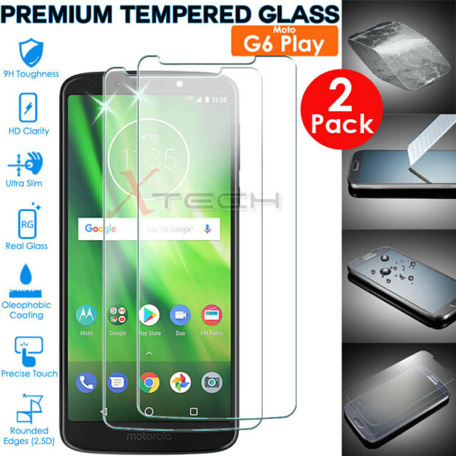 2x Genuine TEMPERED GLASS Screen Protector Cover for Motorola Moto G6 Play