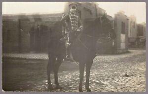 RARE-HUSSAR-WW1-GERMAN-EMPIRE-CAVALRY-WAR-HORSE-RPPC-ANTIQUE-PHOTO-POSTCARD