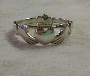 Vintage-925-Sterling-Silver-Ireland-Celtic-Claddagh-Crown-Heart-Ring-Size-6-5