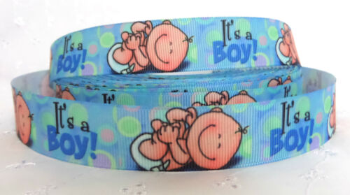 "1m /""IT/'S A BOY/"" NEW BABY GROSGRAIN RIBBON 22//25mm BABY SHOWER NEW BABY CAKE"