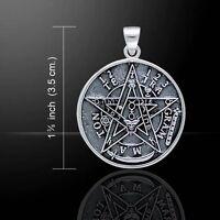 Tetragrammaton Pendant .925 Solid Sterling Silver Seal Of Solomon Magick Amulet