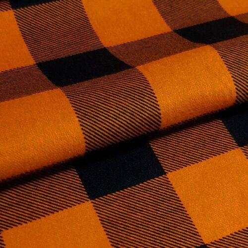 Flanell Meterware 1lfm 100/% Baumwolle 1,5m breit Karo kariert Orange Schwarz