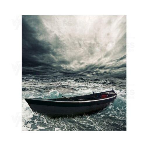 Splashback en verre trempé unique cuisine abandonné bateau dans Stormy Sea Tout Tailles