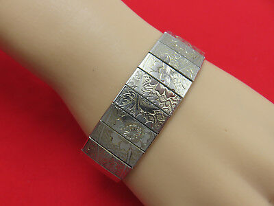 Vintage Statement Bracelet Etched Wide Link 7.5 inch Silver Chain Jewelry 294h