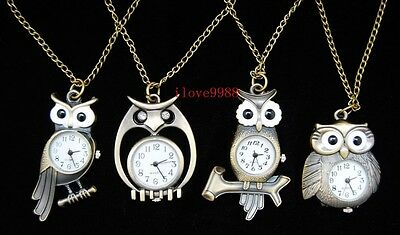 Wholesale 10 pcs Owl mixed Necklace Pendant Pocket Watches ( 4 styles ) USF69