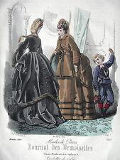 GRAVURE ANCIENNE MODE 19e - JOURNAL DES DEMOISELLES - DECEMBRE 1869
